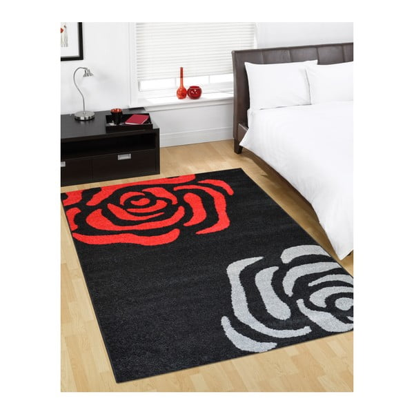 Dywan Flair Rugs Fleurs Black and Red, 160x235 cm