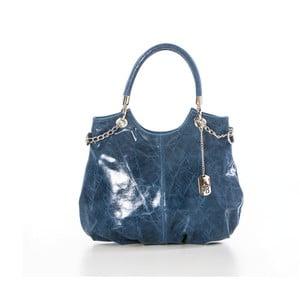 Skórzana torebka Federica Bassi Joanna, niebieska