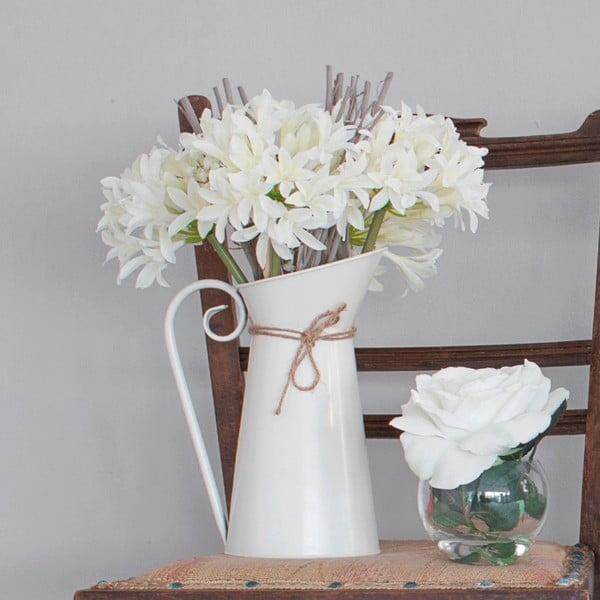 Metalowy dzbanek ze sztucznymi kwiatami Agapanthus, 44 cm
