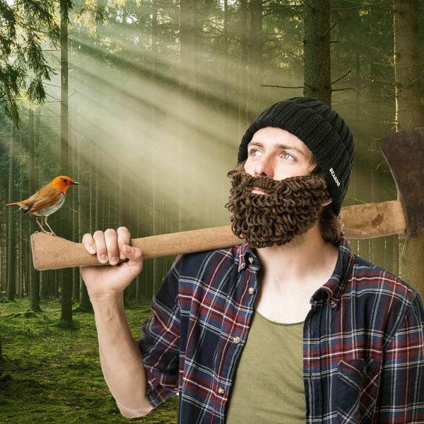 Czarna czapka Beardo z bujną brązową brodą