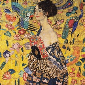 Reprodukcja obrazu Gustava Klimta Lady With Fan, 40x40 cm