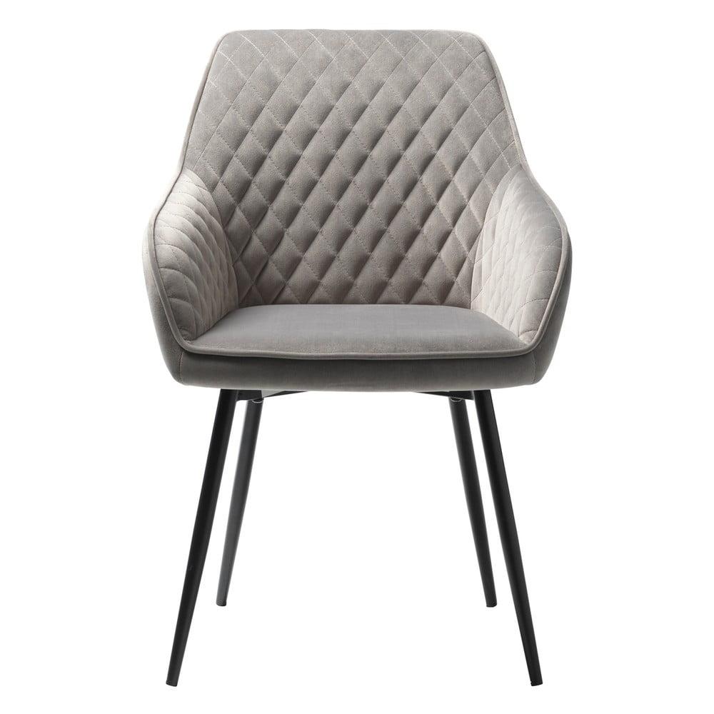 Szare aksamitne krzesło Unique Furniture Milton