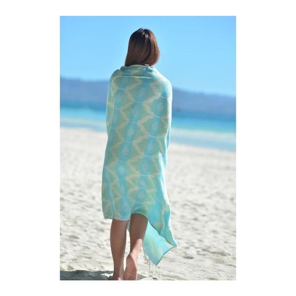 Ręcznik hammam Ripple Turquoise, 95x180 cm