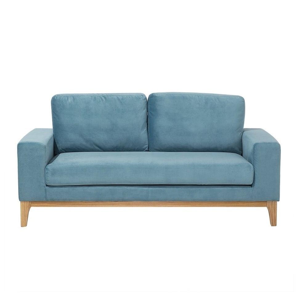 Niebieska sofa 2-osobowa z obiciem o wyglądzie aksamitu Monobeli Kyle