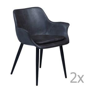 Zestaw 2 szarych krzeseł z podłokietnikami DAN– FORM Combino