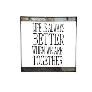 Szklana tabliczka z napisem Life, 30x30 cm