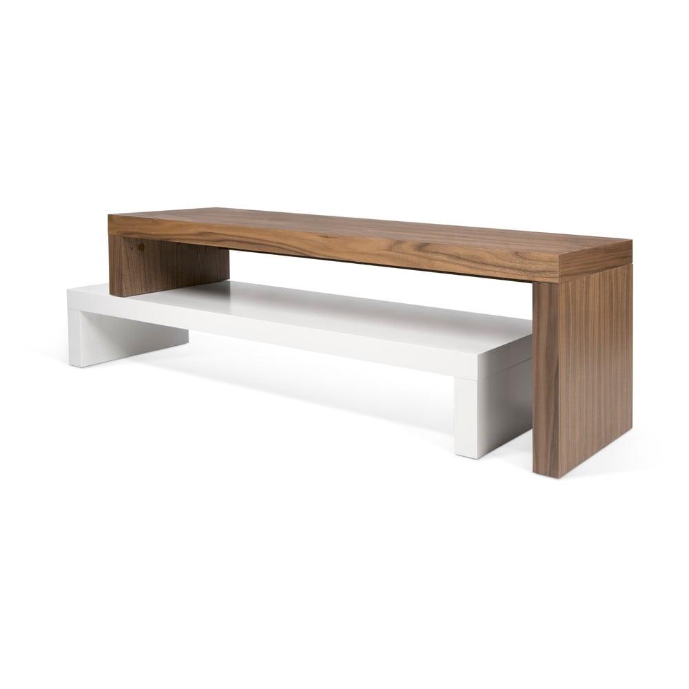 Podwójny brązowo-biały stolik pod TV TemaHome Cliff, 125x20 cm