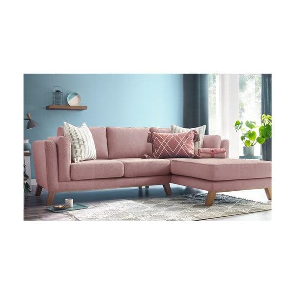 Różowa sofa z szezlongiem po prawej stronie Bobochic Paris Seattle