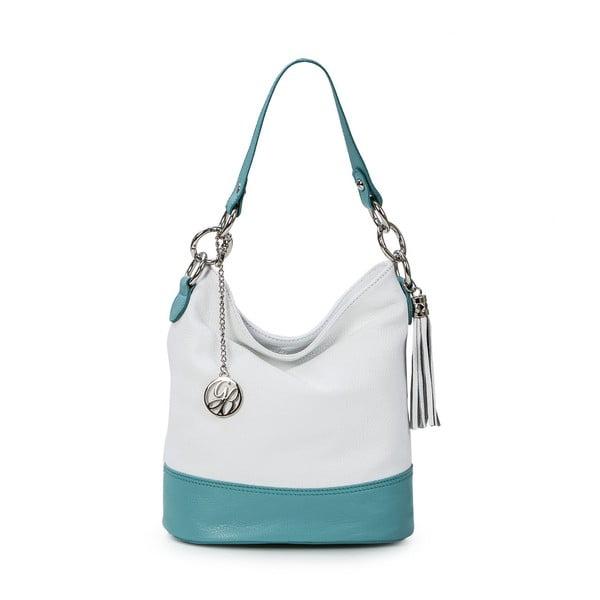 Skórzana torebka Luigi, biało-niebieska