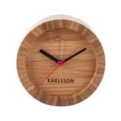 Brązowy zegar stołowy z bambusu z budzikiem Karlsson Tom