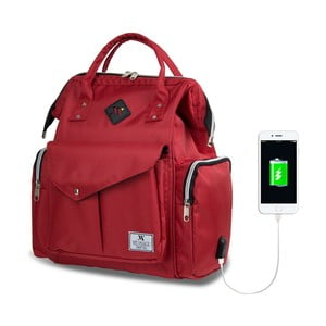Červený batoh pro maminky s USB portem My Valice HAPPY MOM Baby Care Backpack