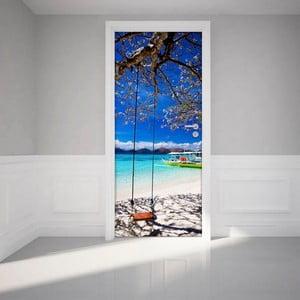 Naklejka elektrostatyczna na drzwi Ambiance Tropical beach and swing