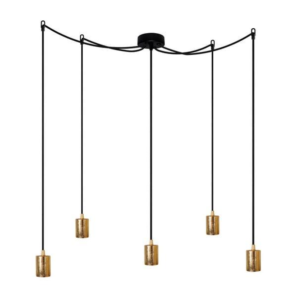 Czarna pięcioramienna lampa wisząca ze złotą oprawką Bulb Attack Cero