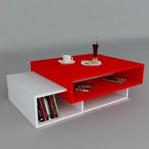 Stolik kawowy Tab White/Red, 60x105x32 cm