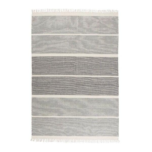 Szaro-niebieski dywan wełniany ręcznie tkany Linie Design Reita, 140x200cm