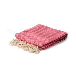 Bordowo-różowy ręcznik hammam Spa Time Zig, 95x180cm