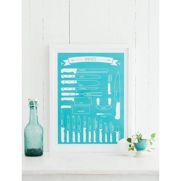 Plakat Knives 70x100 cm, turkusowy