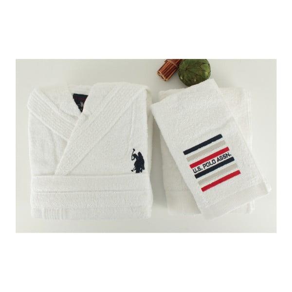 Zestaw damskiego szklafroka i 2 ręczników U.S. Polo Assn. Lutsen White, rozm. M