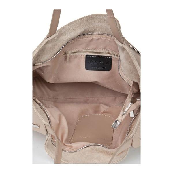 Skórzana torebka Matt Taupe