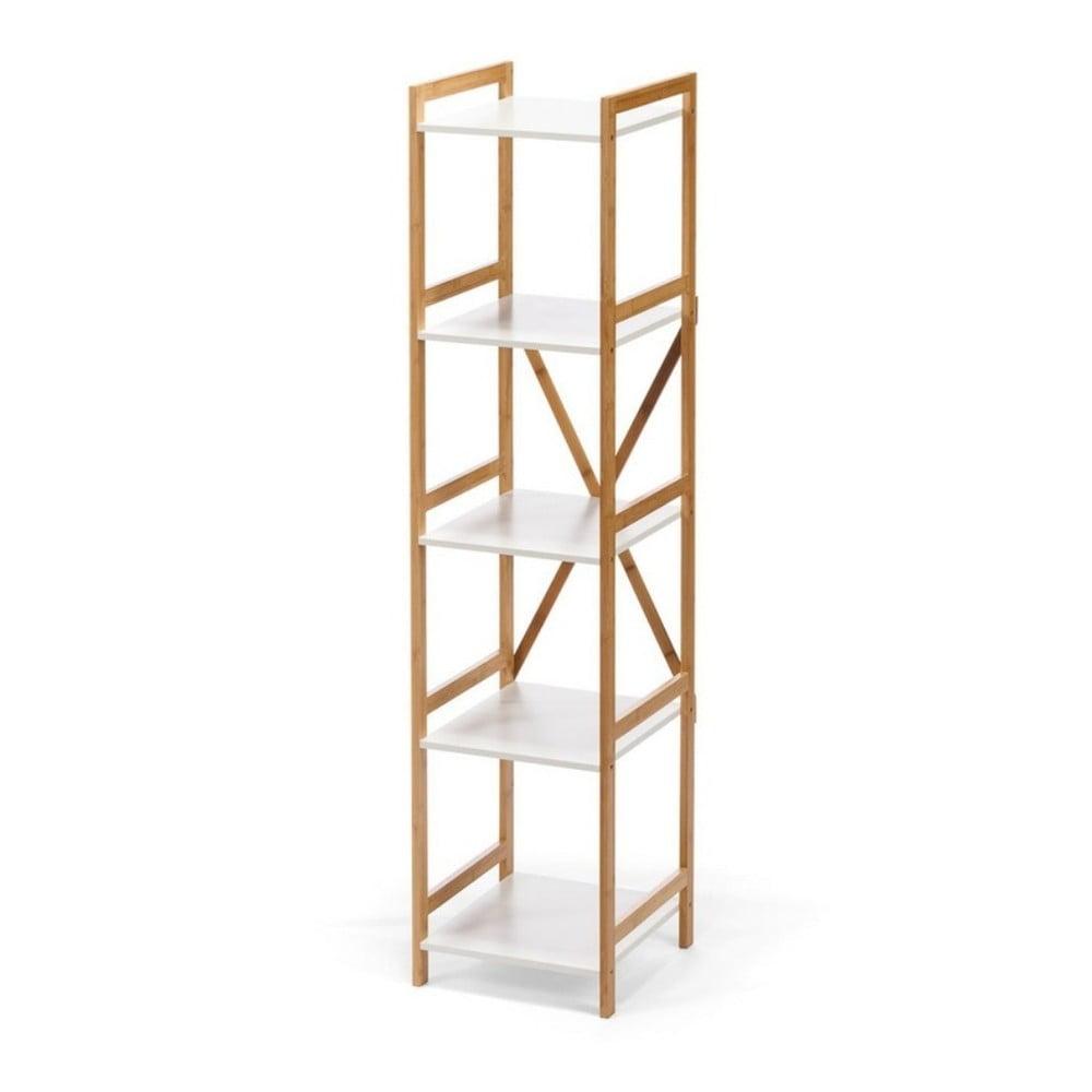 Biały wąski 5-piętrowy regał z bambusową konstrukcją loomi.design Lora