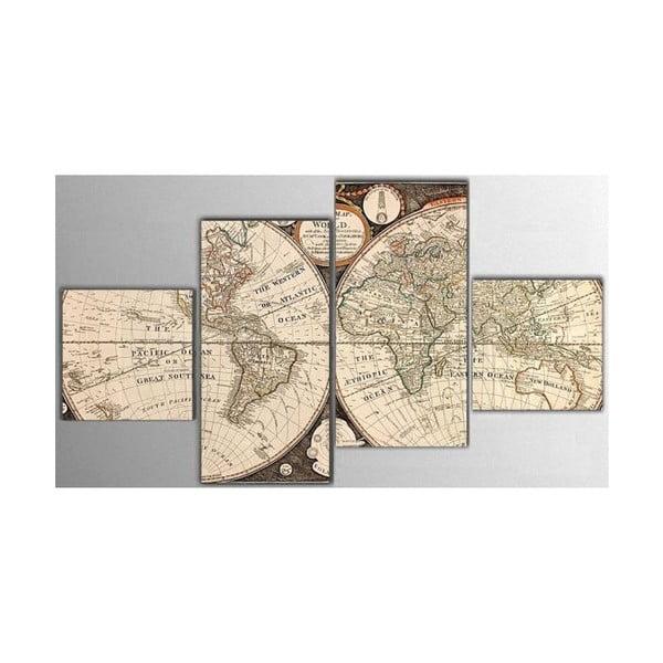 Czteroczęściowy obraz Map, 50x100 cm