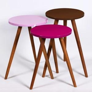 Zestaw 3 stolików Kate Louise Round (fioletowy, różowy, brązowy)