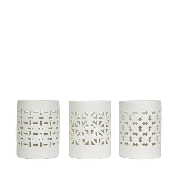 Zestaw 3 porcelanowych świeczników z wygrawerowanym wzorem