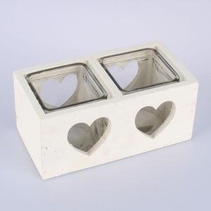 Biały świecznik drewniany na 2 świeczki Dakls Heart