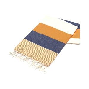 Niebiesko-pomarańczowy ręcznik Hammam Amerikan, 100x180cm