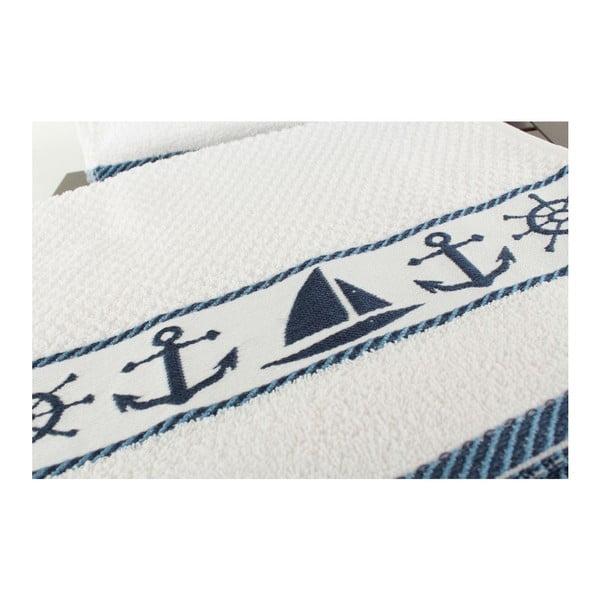 Zestaw 6 biało-niebieskich ręczników Marina, 30x50 cm