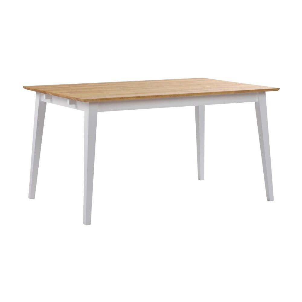 Stół z drewna dębowego z białymi nogami, 140 x 90 cm