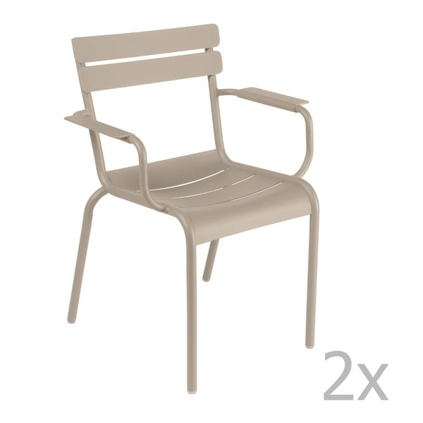Zestaw 2 jasnobeżowych krzeseł z podłokietnikami Fermob Luxembourg
