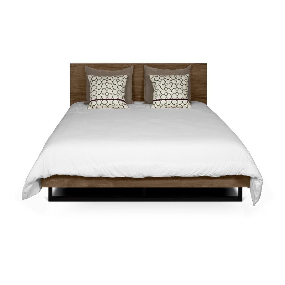 Brązowe łóżko z nogami ze stali TemaHome Mara, 160x200 cm