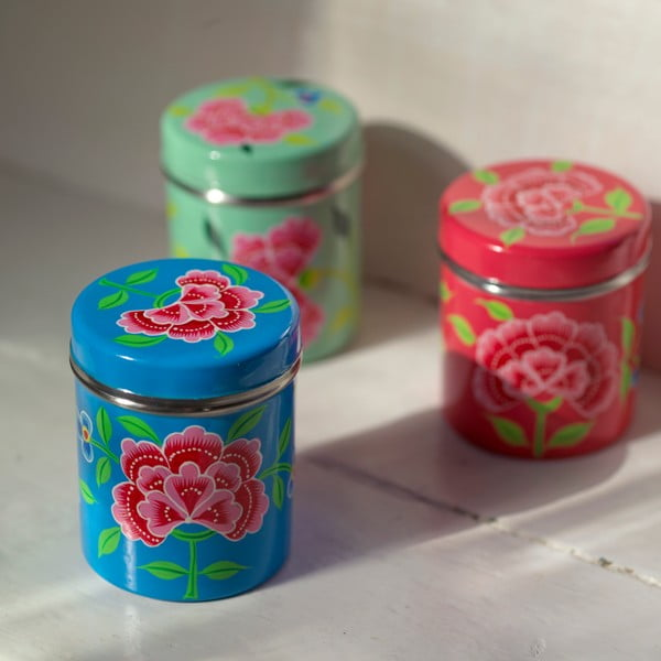 Pojemnik Franjipani Floral Tin, różowy