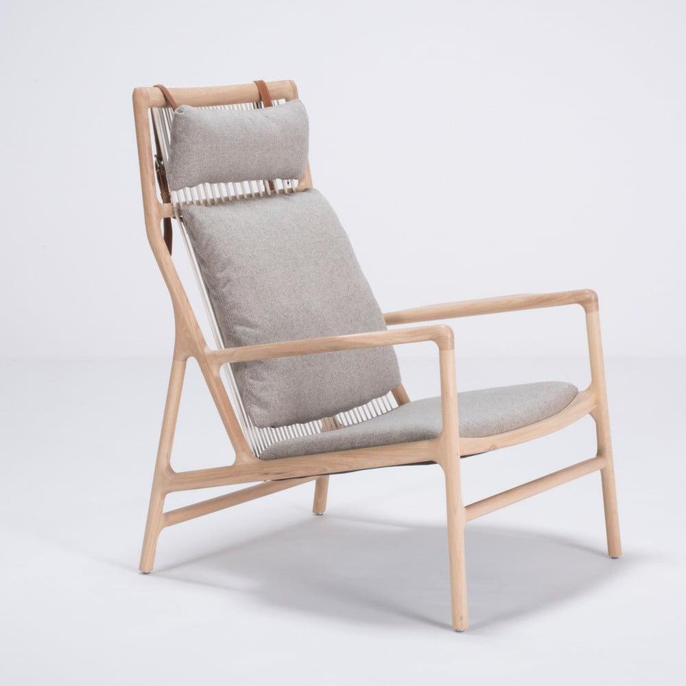 Fotel z konstrukcją z drewna dębowego z szarą tekstylną poduszką Gazzda Dedo