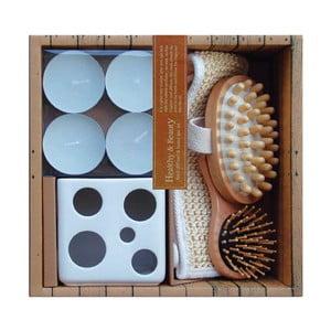 Zestaw relaksacyjny - świecznik, świeczki, szczotki, rękawica Ceramic