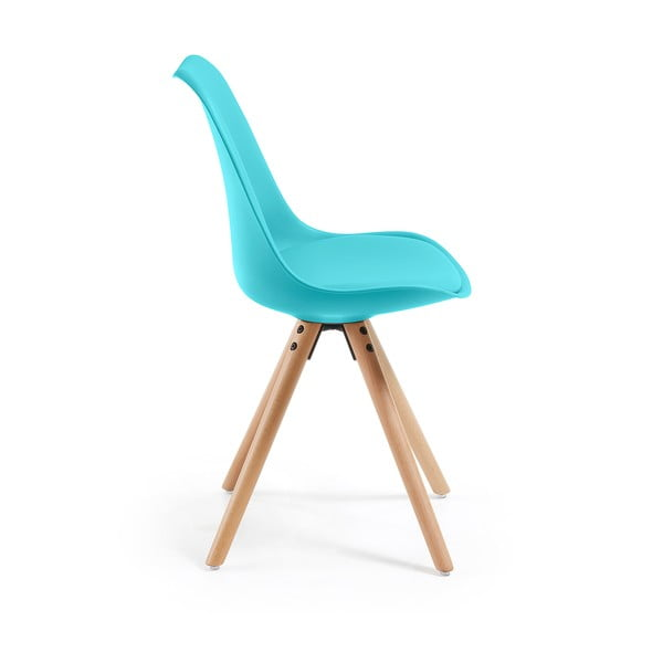 Zestaw 4 niebieskich krzeseł jadalnianych La Forma Lars