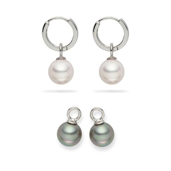 Komplet kolczyków z dwoma zawieszkami Nova Pearls Copenhagen Catherine White/Silver
