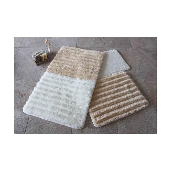 Zestaw 3 biało-brązowych dywaników łazienkowych