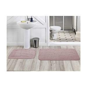 Zestaw 2 dywaników łazienkowych Dekoreko Pudra, 50x60 cm + 60x100 cm