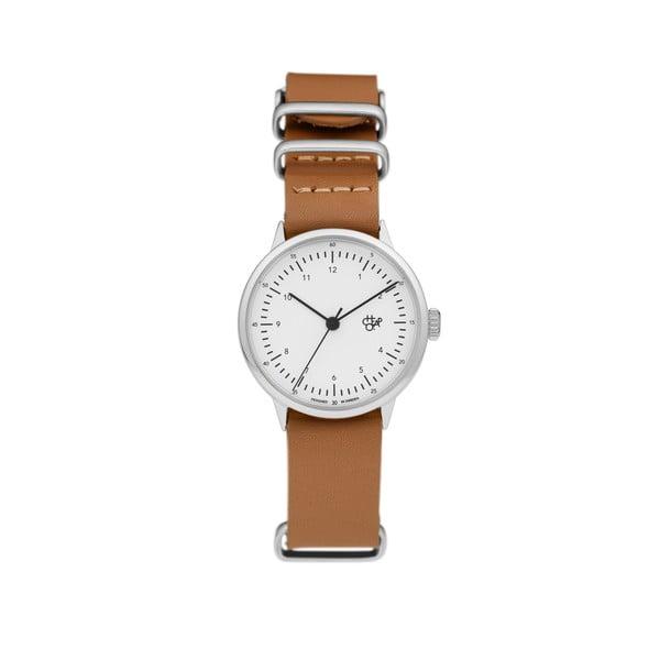 Zegarek z brązowym paskiem i białym cyferblatem CHPO Harold Mini