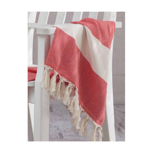 Czerwony ręcznik Hammam Baliksirti , 100x180cm