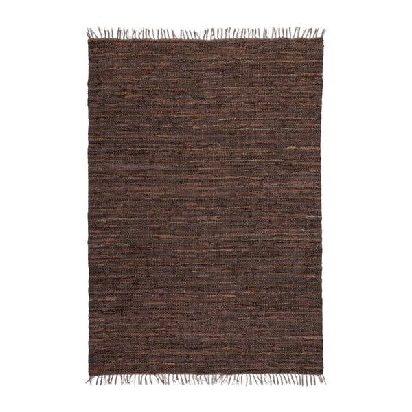 Brązowy skórzany dywan Kayoom Rajpur, 70x130 cm