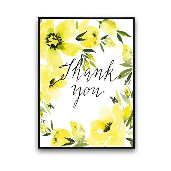 Plakat z żółtymi kwiatami Thank You, 30 x 40 cm