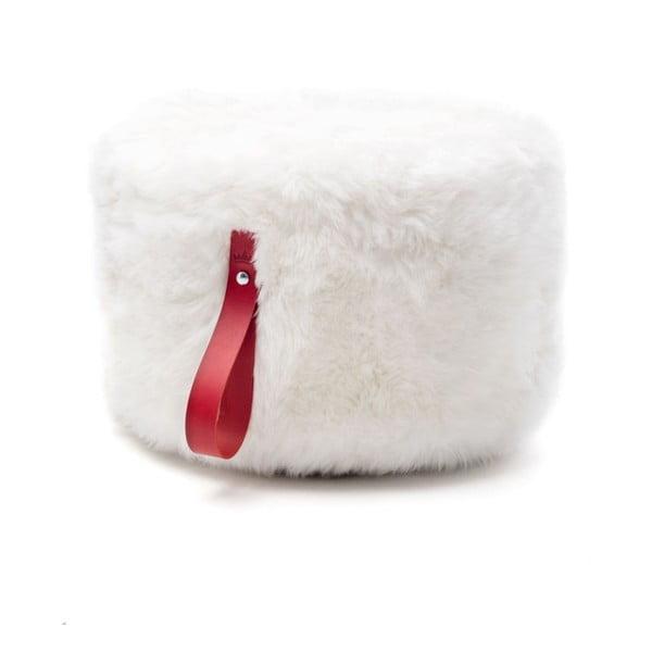 Biało-czerwony   okrągły puf Royal Dream