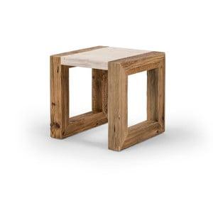 Stolik drewniany z jasnym blatem Antique Wood, 42x42cm
