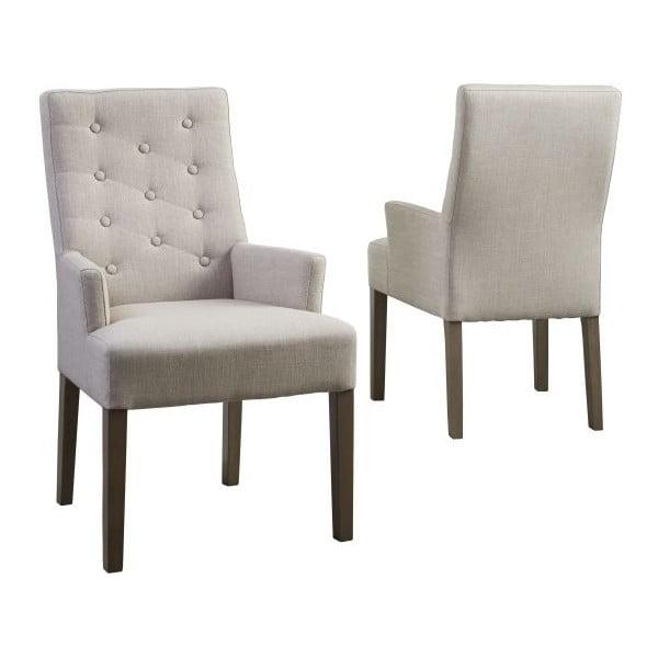 Beżowe krzesło z nogami z drewna dębowego Canett Twitter
