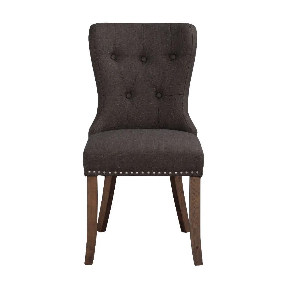 Ciemnoszare krzesło do jadalni z brązowymi nogami Rowico Adele
