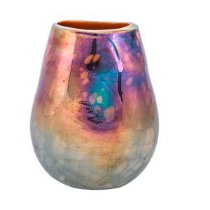 Szklany wazon w perłowym dekorze Dino Bianchi Latina, wysokość19cm