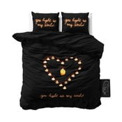 Czarna jednoosobowa pościel z mikroperkalu Sleeptime Love Candles, 160x200 cm
